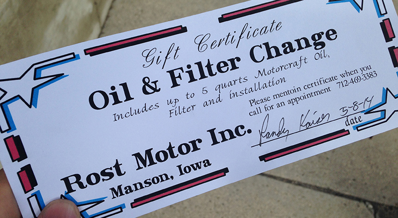 book my oil change at rost motor in manson